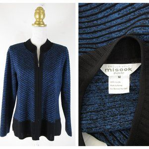 Exclusively Misook Blue Black Striped Jacket MP